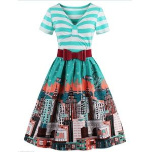 Dresses & Skirts - TURQUOISE STRIPE NYC DRESS